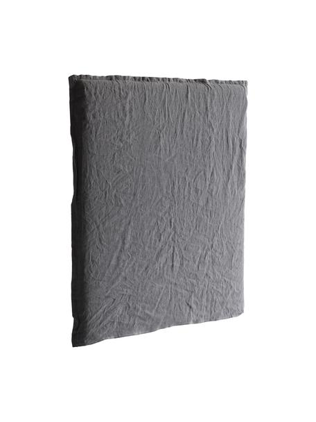 Testiera in lino grigio scuro Palma, Sottostruttura: struttura in legno, Grigio scuro, Larg. 120 x Alt. 122 cm