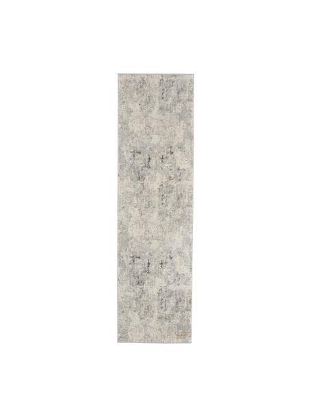 Loper Rustic in grijs/beige met hoog-laag structuur, Bovenzijde: 51% polypropyleen, 49% po, Onderzijde: latex, Grijs, beige, 65 x 230 cm