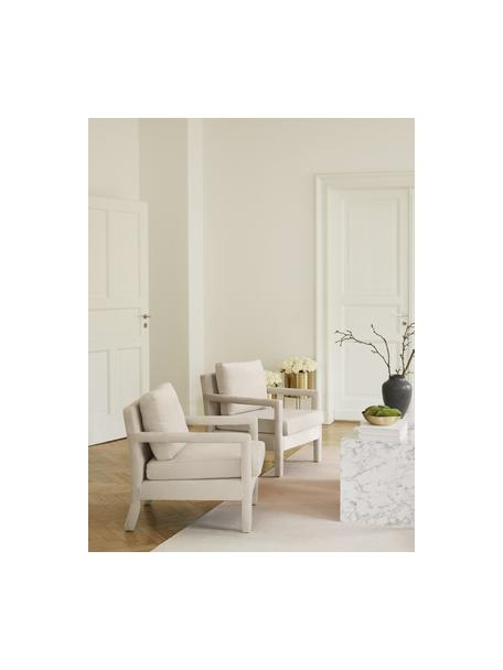 Poltrona in velluto beige Claudette, Rivestimento: velluto (100% poliestere), Struttura: legno di pino massiccio, , Beige, Larg. 65 x Prof. 75 cm