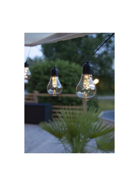 LED lichtslinger Glow, 505 cm, 10 lampions, Lampions: kunststof, Transparant, zwart, L 505 cm