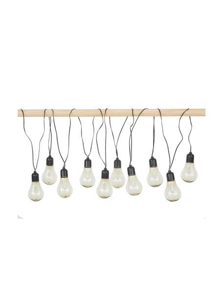 Outdoor LED lichtslinger Glow, 505 cm, 10 lampions, Lampions: kunststof, Fitting: kunststof, Transparant, zwart, L 505 cm