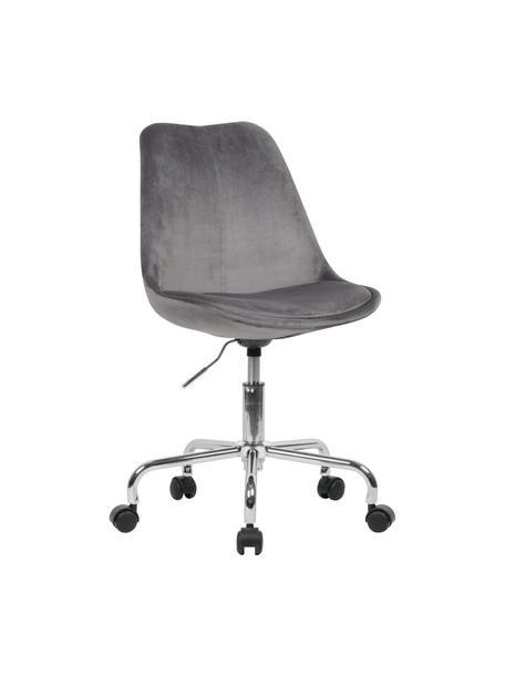 Sedia da ufficio girevole in velluto Lenka, Rivestimento: velluto, Struttura: metallo cromato, Velluto grigio, Larg. 65 x Prof. 56 cm