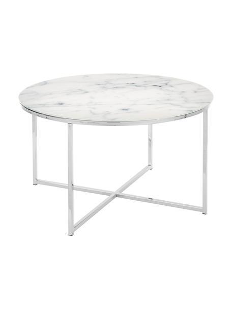 Couchtisch Antigua mit marmorierter Glasplatte, Tischplatte: Glas, matt bedruckt, Gestell: Metall, verchromt, Tischplatte: Milchig, Marmor-Print Gestell: Chrom, Ø 80 x H 45 cm