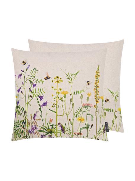 Dwustronna poszewka na poduszkę Biene & Co, 85% bawełna, 15% len, Beżowy, wielobarwny, S 50 x D 50 cm