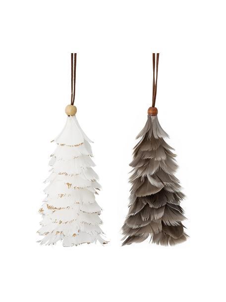 Kerstboomhangersset Martia, 2-delig, Veren, Wit, grijs, Ø 8 x H 14 cm