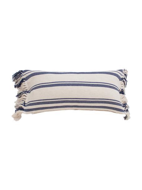 Gestreepte kussenhoes Juarez met franjes, 100% katoen, Crèmekleurig, donkerblauw, 30 x 60 cm