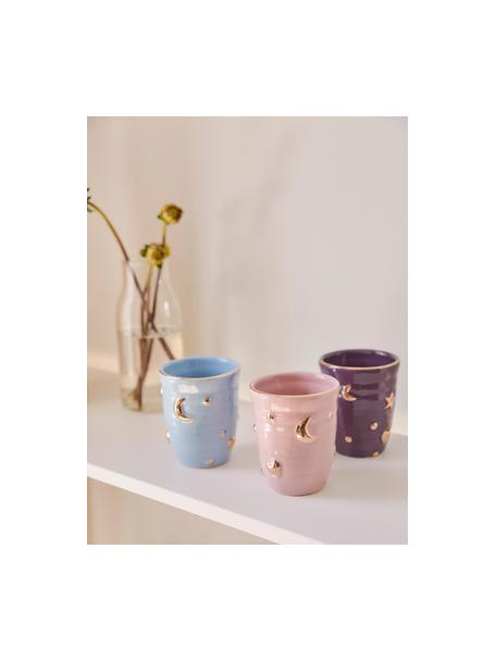 Tazas originales artesanales Anouk, 4uds., Porcelana, Lila, azul claro, rojo, rosa, dorado, Ø 8 x Al 10 cm