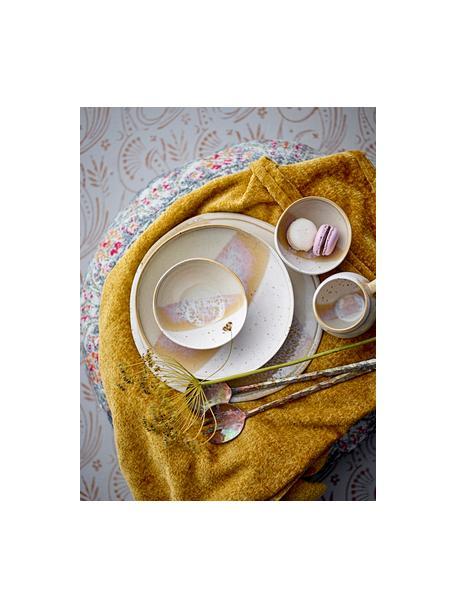 Handgemachter Frühstücksteller April mit effektvollen Farbverläufen, Steingut Eine Hälfte glasiert, eine Hälfte naturbelassen, was den Charakter der Handwerkskunst hervorhebt., Beigetöne, Ø 22 x H 3 cm
