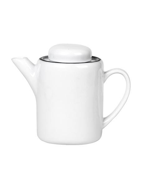 Handgemachte Porzellan Teekanne Salt mit schwarzem Rand, 1.3 L, Porzellan, Gebrochenes Weiß, Schwarz, 1.3 L