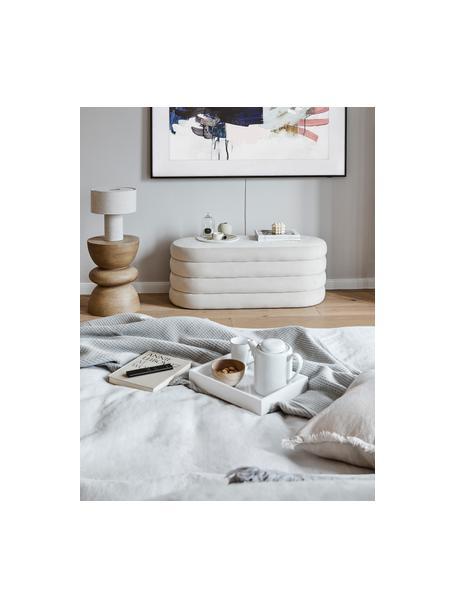 Handgemachte Porzellan Teekanne Salt mit schwarzem Rand, 1.3 L, Porzellan, Gebrochenes Weiss, Schwarz, 1.3 L