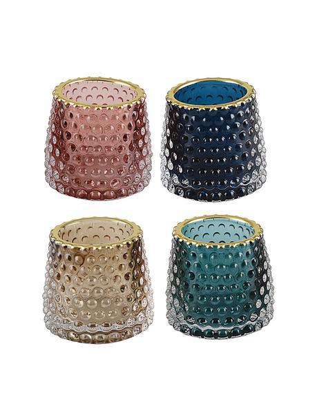 Komplet świeczników na podgrzewacze  Rimmon, 4 elem., Szklanka, Wielobarwny, odcienie złotego, Ø 8 x W 7 cm
