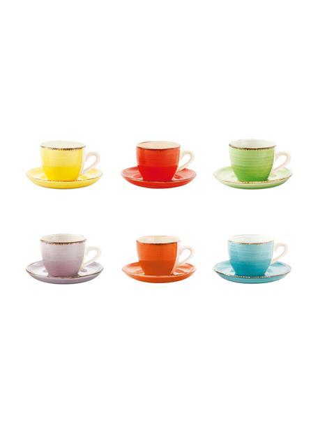 Kleurrijke handbeschilderde espressokopjes met schoteltjes Baita, 6 stuks, Handbeschilderde keramiek (hard dolomiet), Multicolour, 90 ml