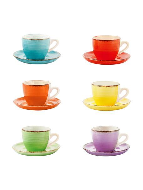 Tazas originales con platito Baita, 6uds., Gres (dolomita) pintadoamano, Amarillo, rojo, verde claro, lila, naranja, azul claro, 90 ml