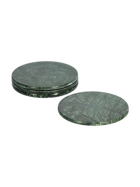 Marmeren onderzetters Tressa, 4 stuks, Marmer, Gemarmerd groen, Ø 10 x H 1 cm