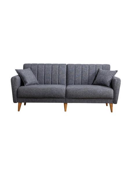 Sofa rozkładana Aqua (3-osobowa), Tapicerka: len, Stelaż: drewno rogowe, metal, Nogi: drewno naturalne, Ciemnyszary, S 202 x G 85 cm
