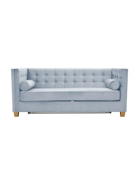 Sofa  z aksamitu z funkcją spania Rosso (2-osobowa), Tapicerka: 100% aksamit poliestrowy, Nogi: drewno lakierowane, Jasny niebieski, S 188 x G 85 cm