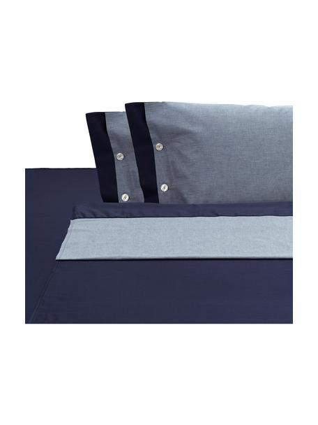 Set lenzuola in raso di cotone Charme, Blu, grigio blu, 250 x 290 cm + 2 federe 50 x 80 cm x lenzuola 180 x 200 cm