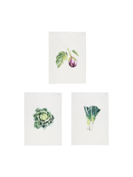Geschirrtücher-Set Primeur, 3-tlg., 100% Baumwolle, Weiß, Grün, Lila, 50 x 70 cm