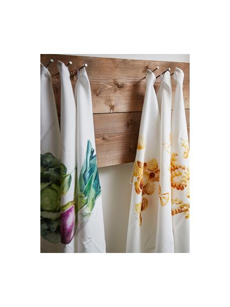 Set de paños de cocina Primeur, 3uds., 100%algodón, Blanco, verde, lila, An 50 x L 70 cm