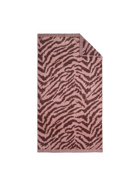 Strandtuch Belen mit Zebramuster in Rot/Rosa, Vorderseite: Velours (GOTS), Rückseite: Jacquard, Rosa, Dunkelrot, 100 x 180 cm