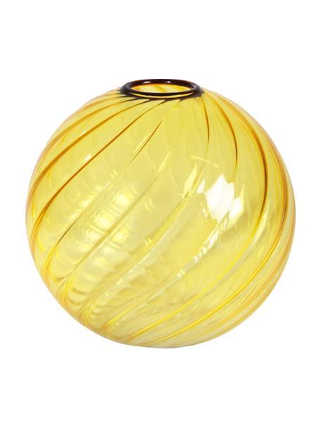 Kleine Glasvase Spiral in Gelb, Glas, Gelb, Ø 13 x H 13 cm
