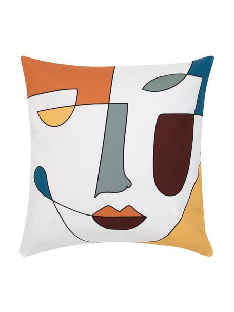 Federa arredo con stampa astratta Adriano, Bianco, multicolore, Larg. 40 x Lung. 40 cm