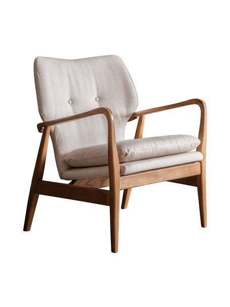 Loungesessel Jomlin aus Eichenholz, Bezug: Leinen, Gestell: Eichenholz, Beige, B 70 x T 60 cm