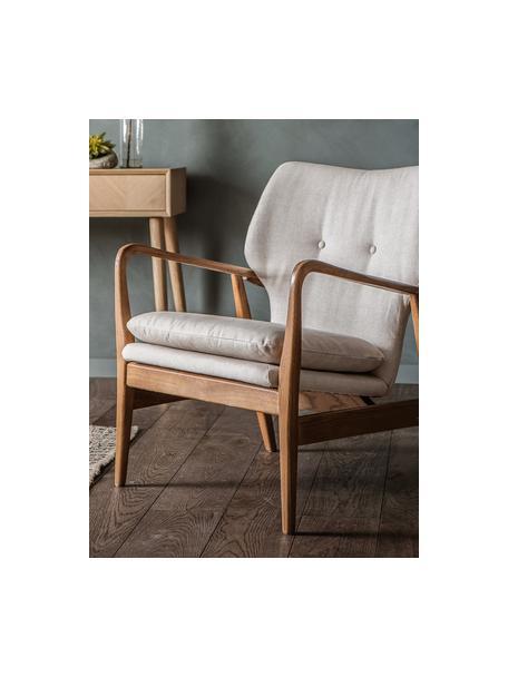 Sillón de madera de roble Jomlin, Tapizado: lino, Estructura: madera de roble, Beige, An 70 x F 60 cm