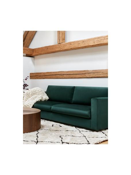 Fluwelen bank Balmira (3-zits) in donkergroen, Bekleding: fluweel (polyester), Frame: massief grenenhout, Poten: massief gelakt berkenhout, Fluweel donkergroen, B 240 x D 96 cm