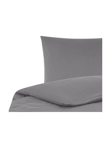 Katoensatijnen dekbedovertrek Comfort, Weeftechniek: satijn, licht glanzend, Donkergrijs, 140 x 200 cm