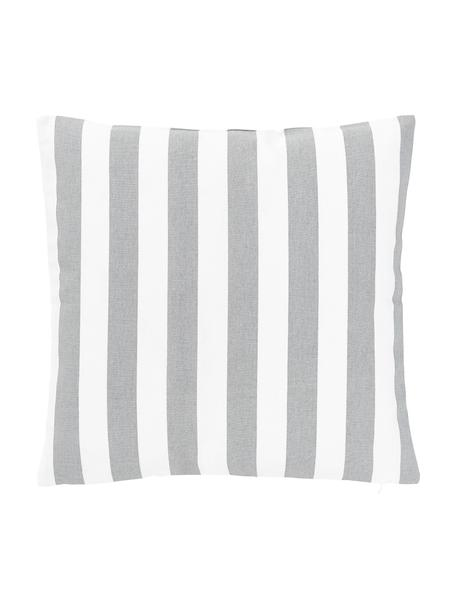 Funda de cojín a rayas Timon, 100%algodón, Gris claro, blanco, An 45 x L 45 cm