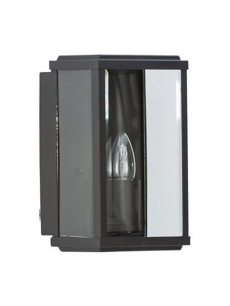 Outdoor wandlamp Wally met glazen lampenkap, Lampenkap: glas, Zwart, transparant, 16 x 25 cm