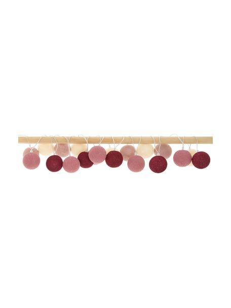 LED lichtslinger Colorain, 378 cm, 20 lampions, Lampions: polyester, Crèmewit, roze, lila tinten, L 378 cm