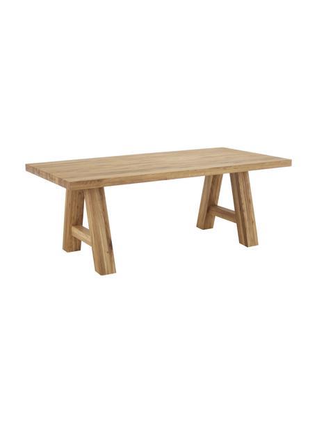 Mesa de comedor de madera de roble maciza Ashton, Madera de roble maciza, barnizada Madera 100%FSC procedente de silvicultura sostenible, Roble barnizado claro, An 200 x F 100 cm