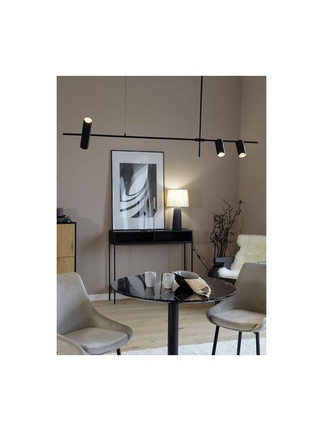 Grote moderne hanglamp Cassandra, Lampenkap: gepoedercoat metaal, Baldakijn: gepoedercoat metaal, Mat zwart, 143 x 73 cm