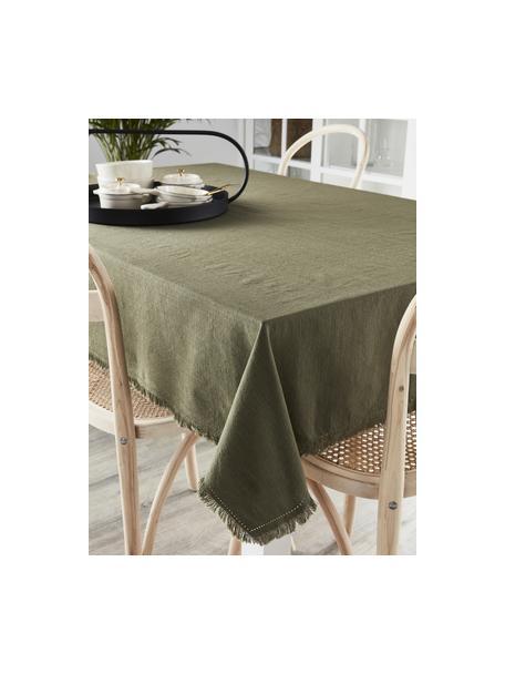 Obrus z bawełny z frędzlami Henley, 100% bawełna, Oliwkowy zielony, Dla 6-8 osób (S 145 x D 250 cm)
