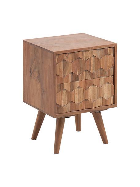 Szafka nocna z szufladą Khaleesi, Lite drewno akacjowe, naturalne, Drewno akacjowe, S 40 x W 55 cm