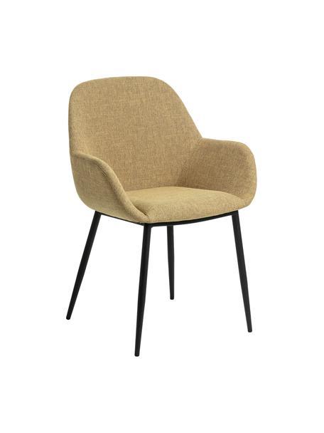 Sedia con braccioli gialla Kona 2 pz, Rivestimento: poliestere 50.000 cicli d, Gambe: metallo verniciato, Tessuto giallo senape, Larg. 59 x Prof. 56 cm