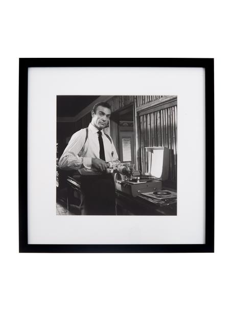 Oprawiony druk cyfrowy Connery, Stelaż: tworzywo sztuczne, Ilustracja: czarny, biały Stelaż: czarny, S 40 x W 40 cm
