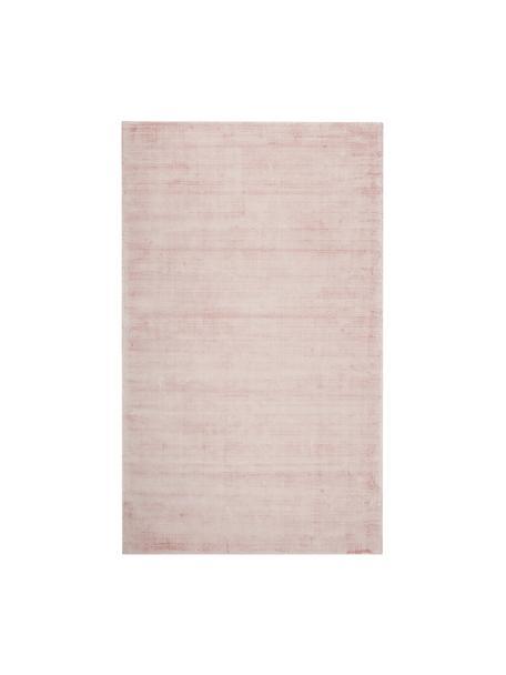 Tappeto in viscosa rosa tessuto a mano Jane, Vello: 100% viscosa, Retro: 100% cotone, Rosa, Larg. 90 x Lung. 150 cm (taglia XS)