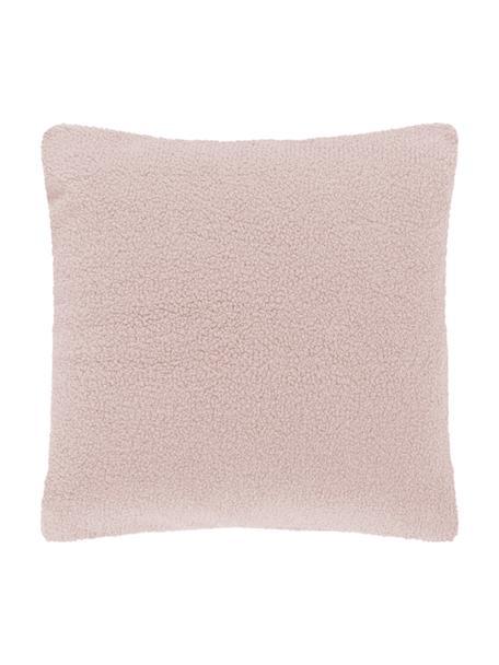 Zachte teddy kussenhoes Mille, Roze, 45 x 45 cm