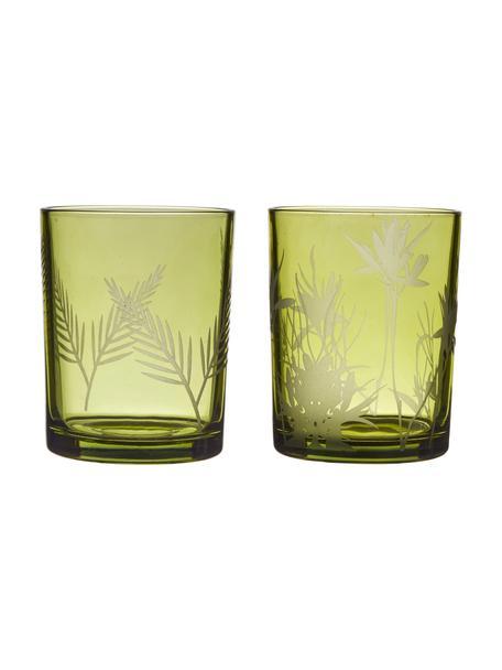 Teelichthalter-Set Flowery, 2-tlg., Glas, bedruckt, Grün, Ø 10 x H 12 cm