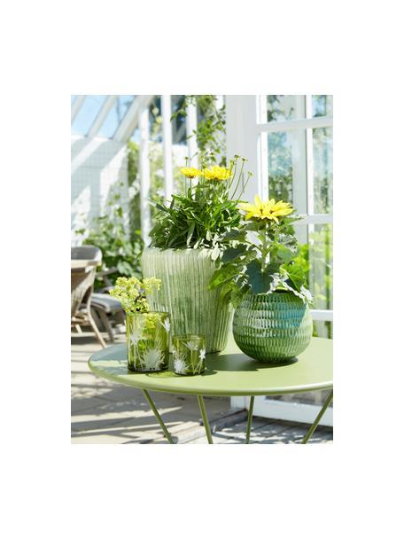 Komplet świeczników na podgrzewacze Flowery, 2 elem., Szkło, nadruk, Zielony, Ø 10 x W 12 cm