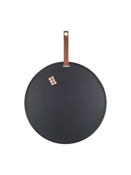 Pinnwand Perky , Metall, lackiert, Schwarz, Ø 50 x T 1 cm