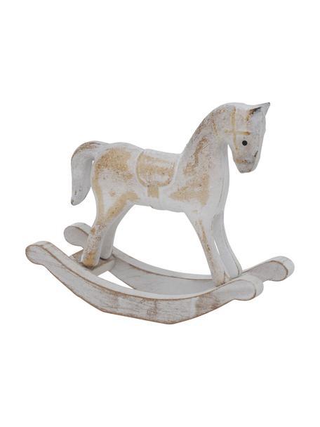 Cavallo a dondolo decorativo in legno Pavo, alt. 12 cm, Pannello di fibra a media densità rivestito, Grigio, beige con finitura antica, Larg. 13 x Alt. 12 cm