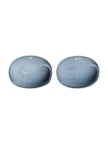 Komplet solniczki z pieprzniczka z kamionki Saisons, 2 elem., Kamionka, Niebieski, Ø 5 x W 3 cm