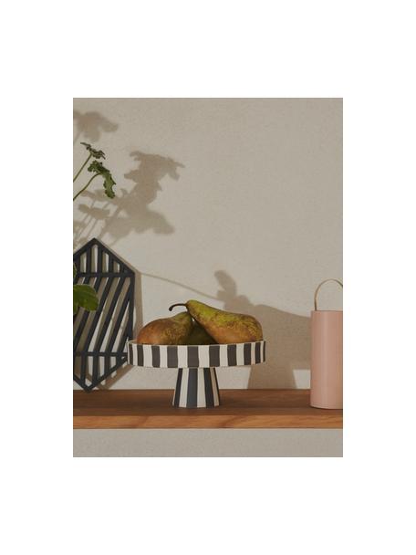 Alzatina in ceramica a righe Toppu, Ceramica, Bianco, nero, Ø 20 x Alt. 9 cm