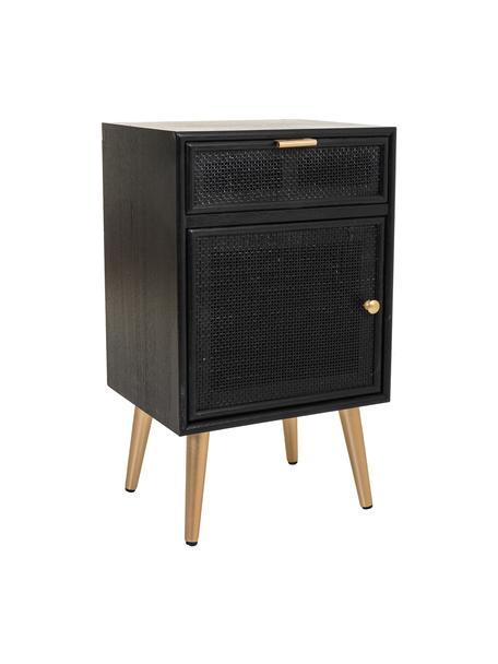 Comodino in legno Cayetana, Piedini: legno di bambù verniciato, Maniglie: metallo verniciato, Nero, Larg. 42 x Alt. 71 cm