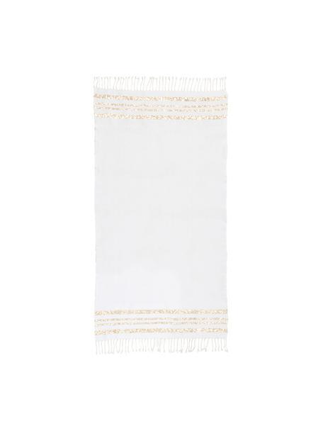 Fouta con tejido lúrex Hamptons, Blanco, dorado, An 100 x L 200 cm