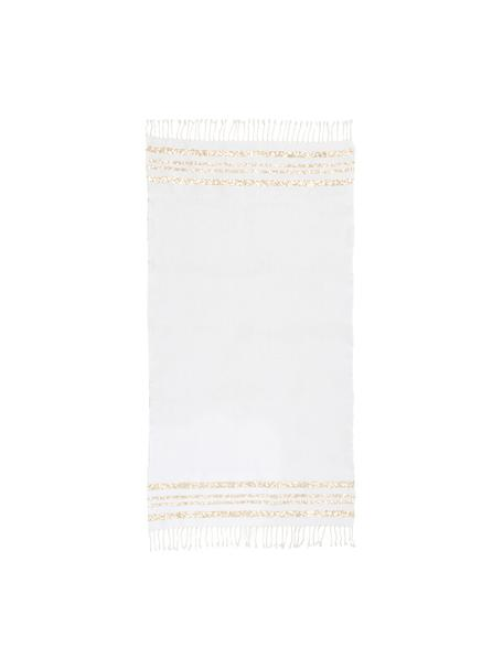Telo mare in cotone Hamptons, Strisce: Lurex, Bianco, dorato, Larg. 100 x Lung. 200 cm